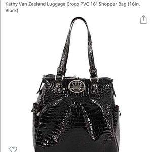 Kathy Van Zeeland black patent leather tote bag